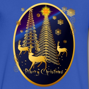 Gold Christmas Trees and Reindeer Oval - Men's V-Neck T-Shirt by Canvas
