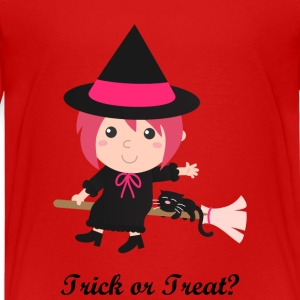 cute flying witch with black cat on broom Kids' Shirts - Kids' Premium T-Shirt