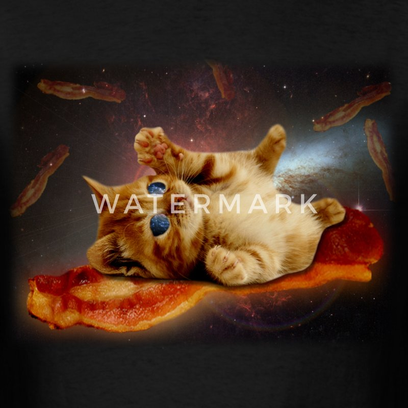 bacon cat in space.png T-Shirts - Men's T-Shirt