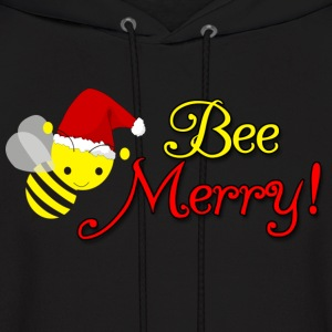 Bee Merry Christmas Holiday Bumblebee Santa Hat Hoodies - Men's Hoodie
