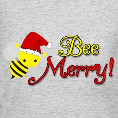 Bee Merry Christmas Holiday Bumblebee Santa Hat Long Sleeve Shirts