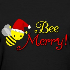 Bee Merry Christmas Holiday Bumblebee Santa Hat Women's T-Shirts
