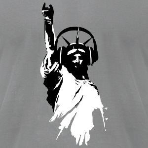 DJ T-Shirts Lady Liberty Headphone (Men/Grey) - Men's T-Shirt by American Apparel
