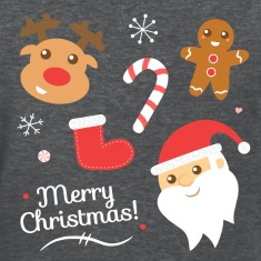 Cute Christmas with Santa and Reindeer Women's T-Shirts
