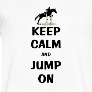 Keep Calm and Jump On Horse T-Shirts - Men's V-Neck T-Shirt by Canvas