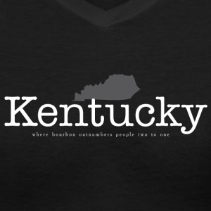 KY - Where Bourbon Outnumbers People Two to One Women's T-Shirts - Women's V-Neck T-Shirt