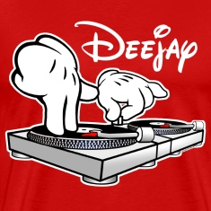 DJ Cartoon Hands with Vinyl Record Turntables