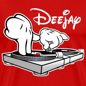 DJ Cartoon Hands with Vinyl Record Turntables - Men's Premium T-Shirt