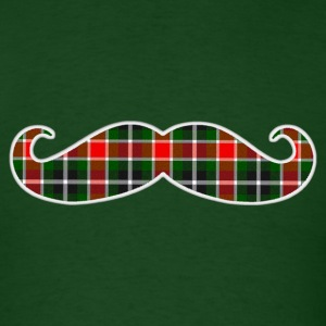 Christmas Plaid Mustache T-shirt - Men's T-Shirt