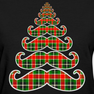 Merry Mustache Christmas Tree Womens T-shirt - Women's T-Shirt