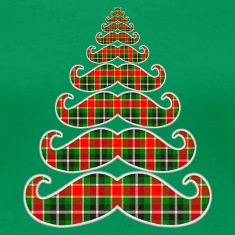 Merry Mustache Christmas Tree Womens T-shirt