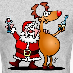 Santa Claus and his Reindeer Long Sleeve Shirts
