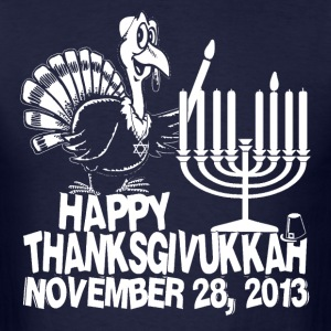 Happy Thanksgivukkah Turkey and Menorah T-shirt  - Men's T-Shirt