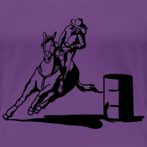 barrel racing lady with horse Women's T-Shirts - Women's Premium T-Shirt