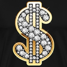 Golden Dollar Sign with Diamonds T-Shirts