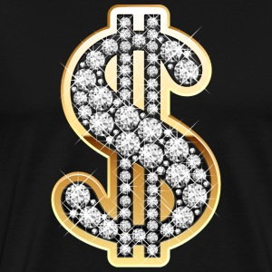 Golden Dollar Sign with Diamonds T-Shirts - Men's Premium T-Shirt
