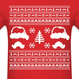 funny mustache ugly christmas sweater  - Men's T-Shirt