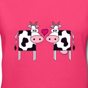 Cows in Love - Women's V-Neck T-Shirt