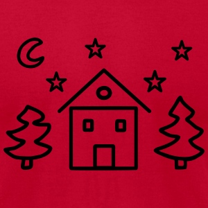 House fir moon starry sky T-Shirts - Men's T-Shirt by American Apparel
