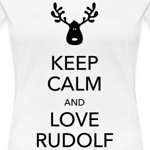 keep calm love rudolf moose reindeer christmas Women's T-Shirts - Women's Premium T-Shirt