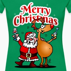 Merry Christmas - Santa Claus and his Reindeer Women's T-Shirts