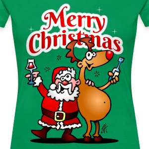 Merry Christmas - Santa Claus and his Reindeer Women's T-Shirts - Women's Premium T-Shirt