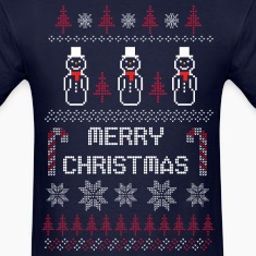 Ugly Christmas Sweater Shirt Snowman (Dark)