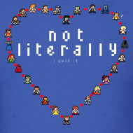 Design ~ I Ship It - Pixel Characters Heart Men's Tee