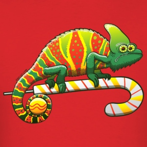 Christmas Chameleon on a Candy Cane T-Shirts - Men's T-Shirt
