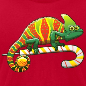 Christmas Chameleon on a Candy Cane T-Shirts - Men's T-Shirt by American Apparel