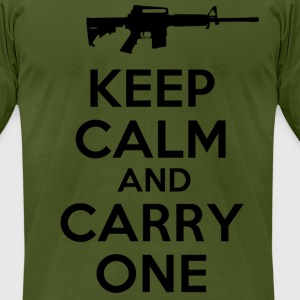 keep calm and carry one gun - Men's T-Shirt by American Apparel