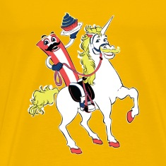 Mr. Bacon Riding  a Unicorn with a Bad Ass Mustach