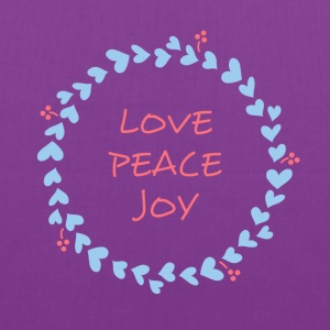 love peace joy Christmas Wreath with Hearts Bags & backpacks - Tote Bag