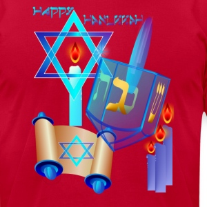 Blue Glass Dreidel-Happy Hanukkah - Men's T-Shirt by American Apparel