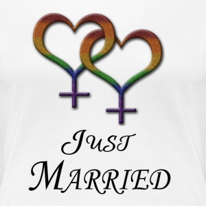 Just Married - Lesbian Pride - Marriage Equality Women's T-Shirts - Women's Premium T-Shirt