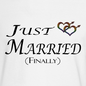 Just married (Finally), Gay pride, with heart shap Long Sleeve Shirts - Men's Long Sleeve T-Shirt