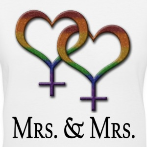 Mrs. and Mrs. - Lesbian Pride - Marriage Equality Women's T-Shirts - Women's V-Neck T-Shirt
