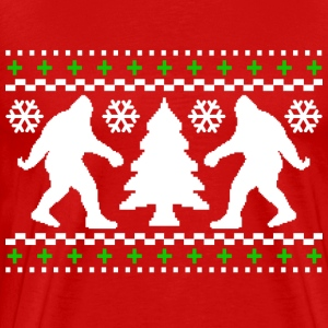 Ugly Holiday Bigfoot Christmas Sweater - Men's Premium T-Shirt