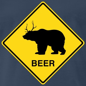Beer Bear/Deer Crossing Sign T-Shirts - Men's Premium T-Shirt