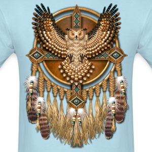 Beadwork Great Horned Owl Mandala - Men's T-Shirt