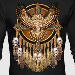 Beadwork Great Horned Owl Mandala - Men's Long Sleeve T-Shirt by Next Level