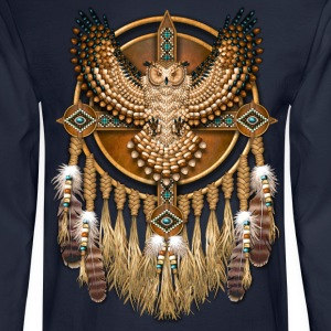 Beadwork Great Horned Owl Mandala - Men's Long Sleeve T-Shirt