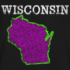 A Wisconsin State T-Shirts - Men's V-Neck T-Shirt by Canvas