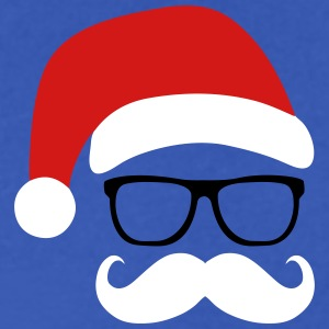 Funny Santa Claus with nerd glasses and mustache T-Shirts - Men's V-Neck T-Shirt by Canvas
