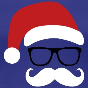 Funny Santa Claus with nerd glasses and mustache Women's T-Shirts - Women's Premium T-Shirt