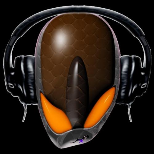 Reptoid Alien Angry DJ in Headphones - Cartoonish