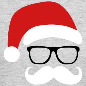 Funny Santa Claus with nerd glasses and mustache Long Sleeve Shirts - Women's Long Sleeve Jersey T-Shirt