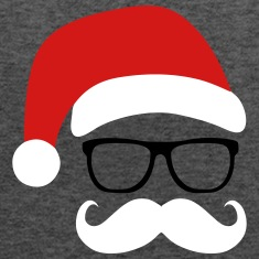 Funny Santa Claus with nerd glasses and mustache Tanks