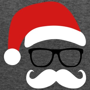 Funny Santa Claus with nerd glasses and mustache Tanks - Women's Flowy Tank Top by Bella