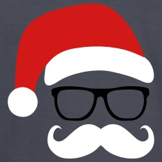 Funny Santa Claus with nerd glasses and mustache Kids' Shirts